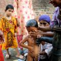 Vluchtelingenkamp in Sindh.